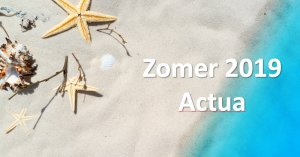 detail of a beach with starfish, with the text actua summer 219
