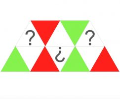 green and red triangles and triangles with a question mark