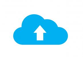 Een blauwe wolk met witte pijl naar boven.