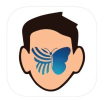 Drawing of a white male face with the blue butterfly logo of QuiverVision.