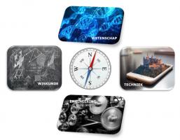 een kompas met daarrond afbeeldingen over domeinen wiskunde, wetenschap, techniek en engineering