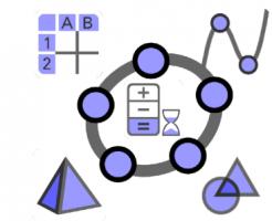 logo van GeoGebra aangevuld met tekens en letters