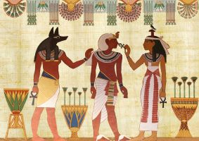 three Egyptian gods