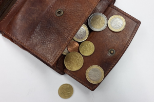 portefeuille met muntstukken