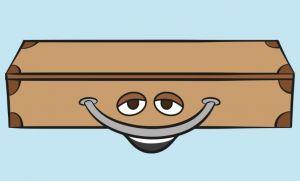 Clipart van een koffer die lacht