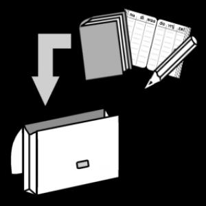 Pictogram van boekentas die wordt ingeladen