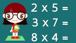 girl next to three times table exercises