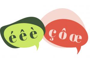 speciale Franse letters in een tekstballon