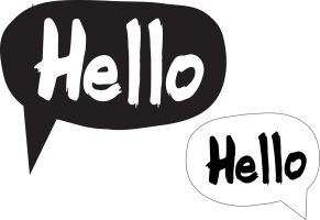 Two speech bubbles with the word hello