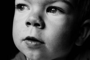 Black white photo face toddler