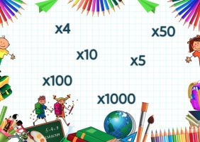 de rand bestaat uit verschillende schoolspullen. In het midden staat x4, x5, x10, x100 en x1000