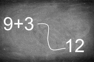 Schoolbord met een voorbeeldoefening