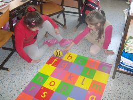 Children playing with Bee-Bot