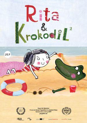 Filmaffiche met Rita en Krokodil op het strand