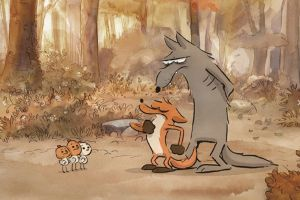 still from the film The big angry fox. You see a wolf and a fox.