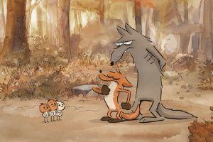 still uit de film De grote boze vos. Je ziet een wolf en een vos.