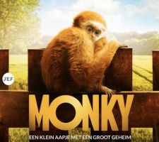 movie poster of the movie Monky. A monkey is sitting on the letters Monky