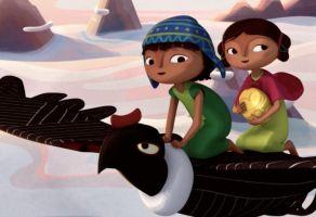 still uit de film Pachamama. Je ziet twee kinderen op de rug van een vogel.