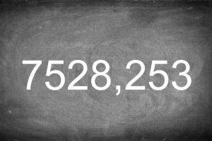 Schoolbord met getal 7528,253