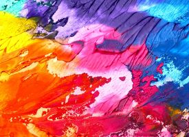 wipe on a canvas, in all colors of the rainbow