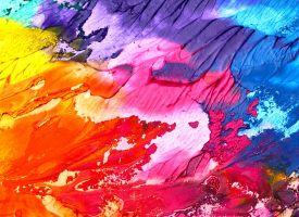 vegen op een doek, in alle kleuren van de regenboog