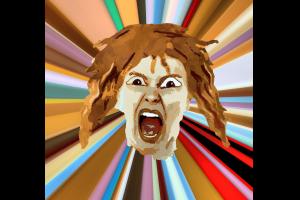 persoon die schreeuwt