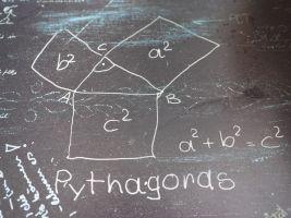 een driehoek met vierkanten op elke zijde, pythagoras