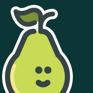 Een groene peer.
