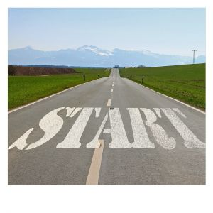 The word start on asphalt