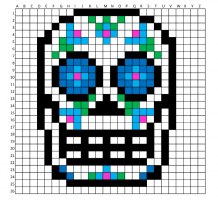 Colored squares on graph paper. Drawing of skull