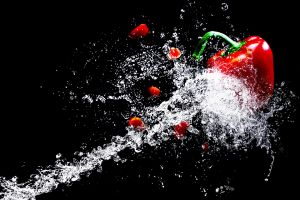 Red pepper in a water jet