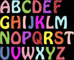 Letters uit alfabet in verschillende kleuren