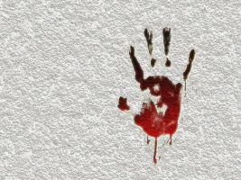 bloody handprint on a white wall