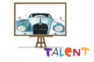 Presentatiebord met auto