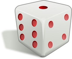 Dice with red eyes