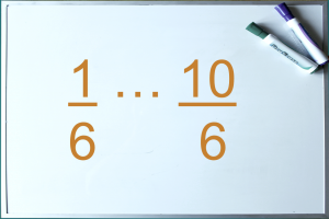 Whiteboard with fractions
