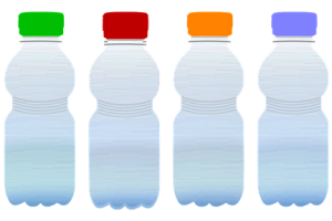 Four bottles with colored caps