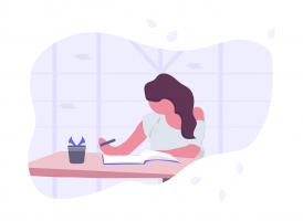 illustratie van iemand die studeert