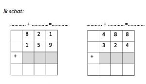 two exercises in which students practice numerical addition