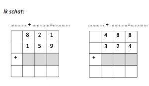 twee oefeningen waarbij leerlingen het cijferend optellen oefenen