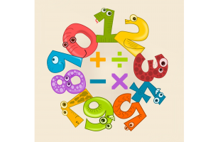 numbers around the four mathematical symbols (addition, subtraction, multiplication, division)
