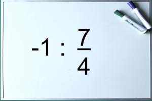 Whiteboard met oefening -1 : 7/4