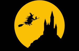 witch flies on broom steel to castle
