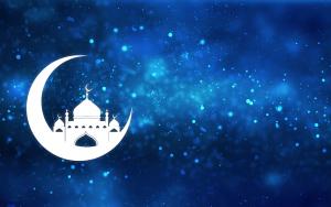 maan met moskee op blauwe achtergrond