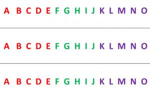 Alfabet met gekleurde letters