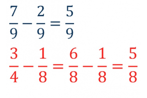 two exercises i.v.m. Subtract fractions with the same name and with the same name