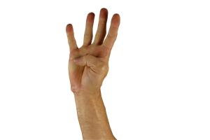 Hand with four fingers held up