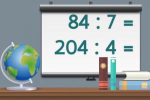 wit schoolbord met oefeningen delen tot 1000