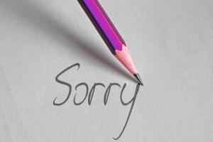 potlood schrijft sorry