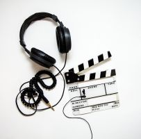 A headset and a movie board.
